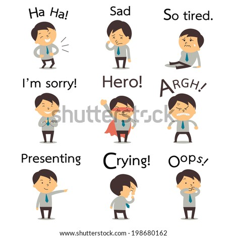 Set 2 of cute businessman or office worker pose in various characters expressing feeling and emotion in communication concept. There is more set in my portfolio.  - stock vector