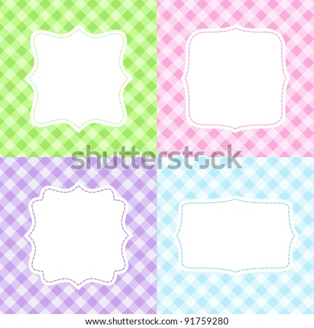 Set of 4 cute cards with gingham pattern - stock vector