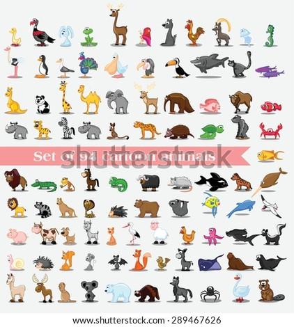 Set of 94 cute cartoon animals - stock vector