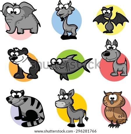 Set of 9 cute cartoon animals  - stock vector