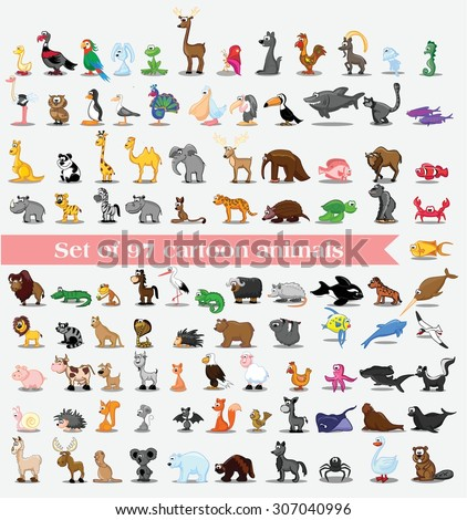 Set of cute cartoon animals - stock vector