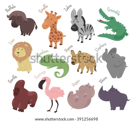 Set cute cartoon animals isolated on stock vector 391256698 set of cute cartoon animals isolated on white background vector illustration for zoo wild voltagebd Images