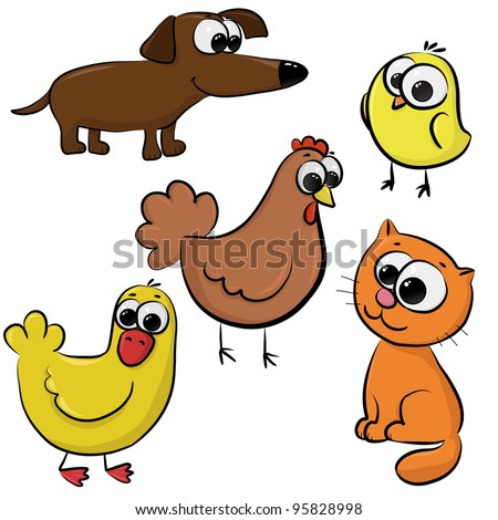 set of cute cartoon animals like chicken, hen, dog, dachshund, cat, duck, isolated on white background