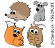 set of cute cartoon animals like squirrel, owl, mouse, hedgehog, isolated on white background - stock vector