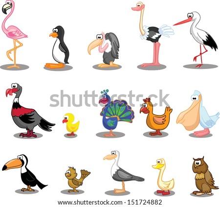 Set of cute cartoon birds - stock vector