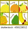 Set of Cute cartoon character fruit. Funny fruit for fresh bar logo. Drink, cocktail, fresh and smoothie label, badge and design element