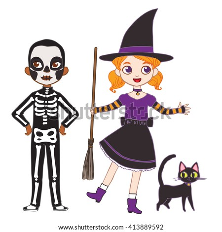 Set of cute cartoon children in colorful halloween costumes. Halloween costumes for kids. - stock vector