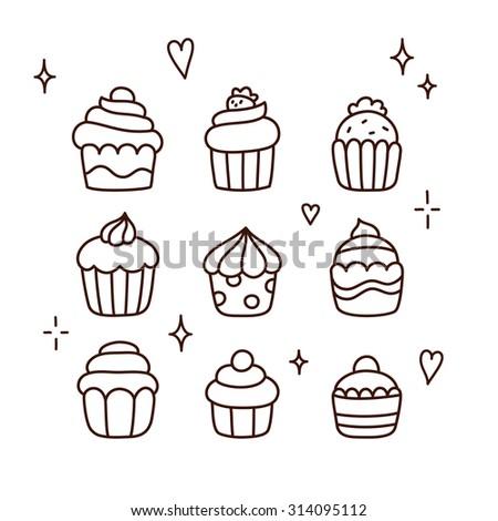 Set of cute cartoon cupcake doodles. Hand drawn line art. - stock vector