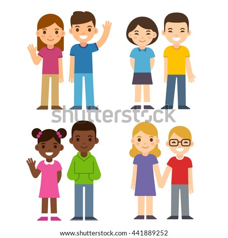 Set of cute cartoon diverse children couples, boys and girls. Caucasian, Asian and black kids. Happy children illustration, flat vector style. - stock vector