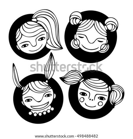set cute cartoon girls faces monochrome stock vector 498488482