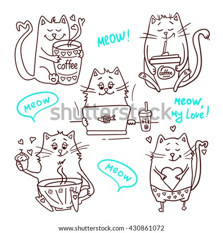 Set of cute cartoon hand drawn cats. Adorable vector clip art for your design. Isolated on wight. - stock vector
