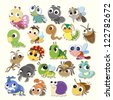 Set of cute cartoon insects - stock vector