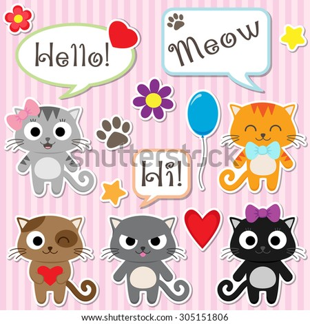 Set of cute cartoon kittens. Vector illustration - stock vector