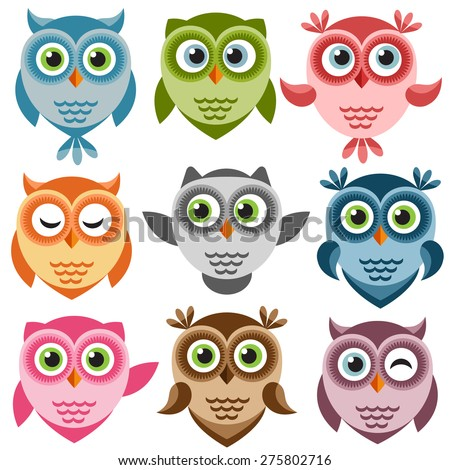 Set of cute cartoon owls - stock vector