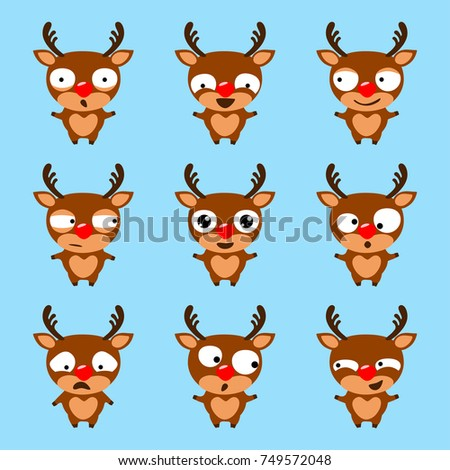 Set Of Cute Cartoon Reindeer Rudolph On Blue Background Christmas Emoji Vector Illustration