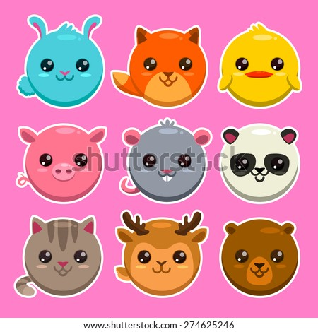 Set of cute cartoon round animals, vector zoo stickers - stock vector