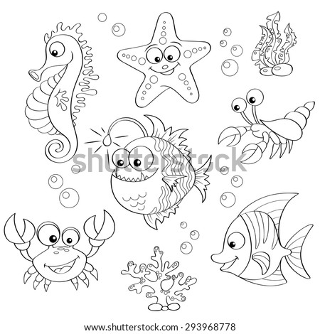 Set Of Cute Cartoon Sea Animals Black And White Vector Illustration For Coloring Book