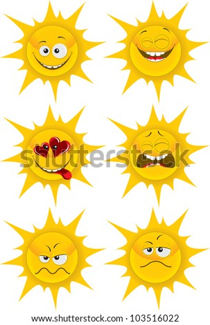 set of cute cartoon sun emotions for web-design, graphic design and mobile weather gadget. isolated on white grouped separately - stock vector