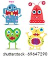 set of cute cartoon valentine monsters. vector illustration - stock photo