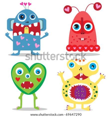 set of cute cartoon valentine monsters. vector illustration - stock vector