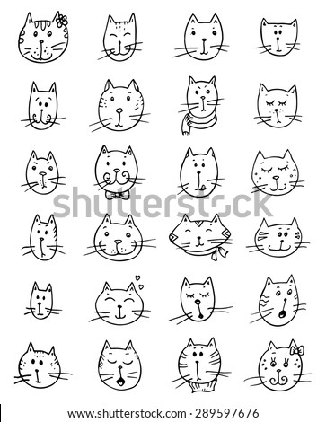 Set of cute cat's faces. Funny vector doodle. - stock vector