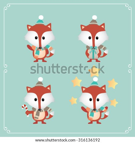 Set of cute Christmas character. Vector illustration - stock vector