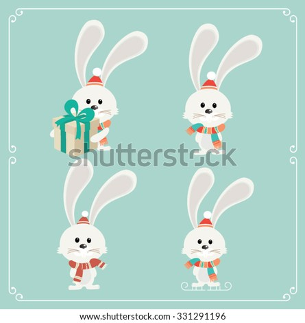 Set of cute Christmas character. White bunny. Vector illustration - stock vector