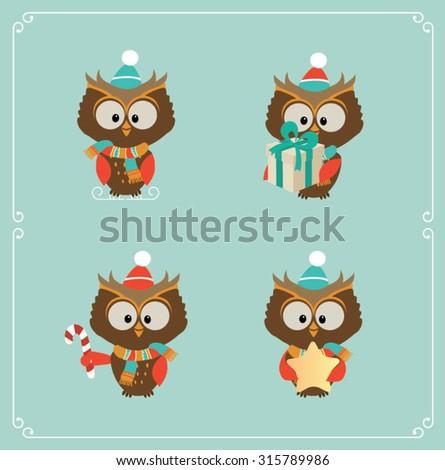 Set of cute Christmas owl. Vector illustration - stock vector