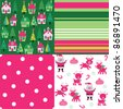 set of cute Christmas seamless patterns - stock vector