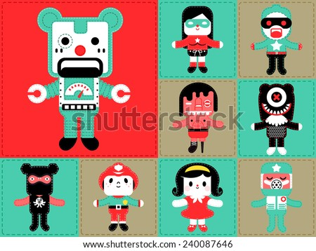 Set of cute classic sewing doll, illustrator vector cartoon set monsters - stock vector