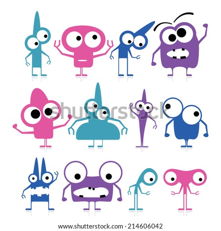 Set of cute color monsters isolated on white - stock vector