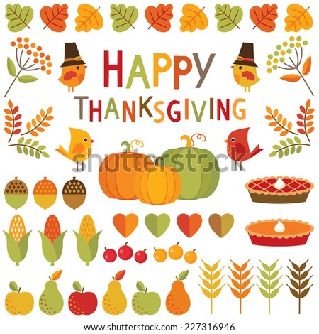 Set of cute, colorful design elements for autumn, fall and Thanksgiving. Happy Thanksgiving typographic message included. - stock vector