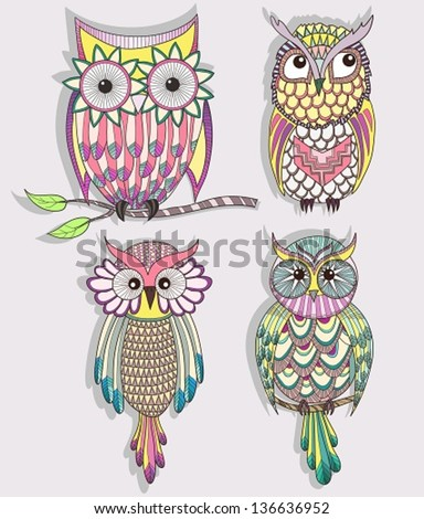 Set of cute colorful owls - stock vector