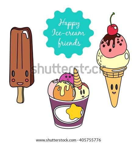 Set of cute colorful smiling ice-creams icons. Waffle cone, popsicle and a few scoops in a bowl. Hand drawn vector set of elements.