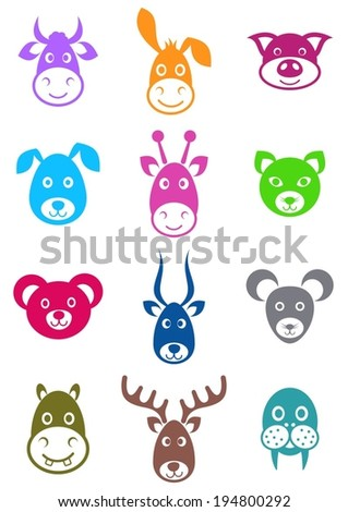 Set of cute colorful vector cartoon animal faces