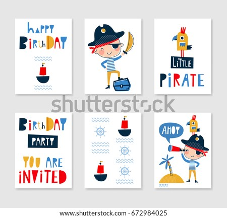 Set cute creative card templates pirate stock vector 2018 set of cute creative card templates with pirate theme design hand drawn card for birthday stopboris Image collections