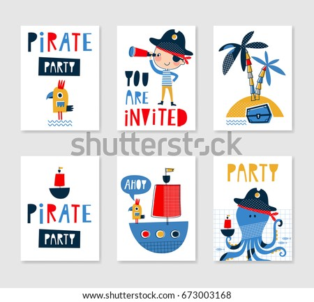 Set cute creative card templates pirate stock vector 673003168 set of cute creative card templates with pirate theme design hand drawn card for birthday stopboris