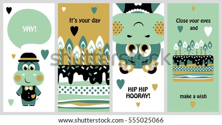 Set of 6 cute creative cards templates with Happy birthday theme design. Hand Drawn card for birthday, anniversary, party invitations, scrapbooking. Vector illustration