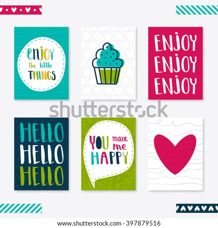 Set of 6 cute creative cards templates with lettering. Vector illustration. Hand Drawn card for birthday, anniversary, party invitations, scrapbook. Pink, green and turquoise - stock vector
