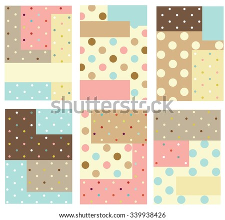 Set of cute creative cards with dot pattern - stock vector