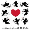 set of cute cupid silhouettes - stock vector