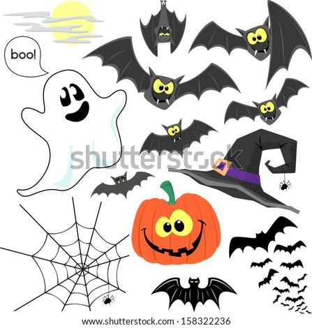 set of cute design elements for halloween design decoration isolated on white background