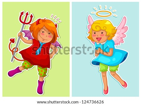 set of cute devil and angel (JPEG available in my gallery) - stock vector