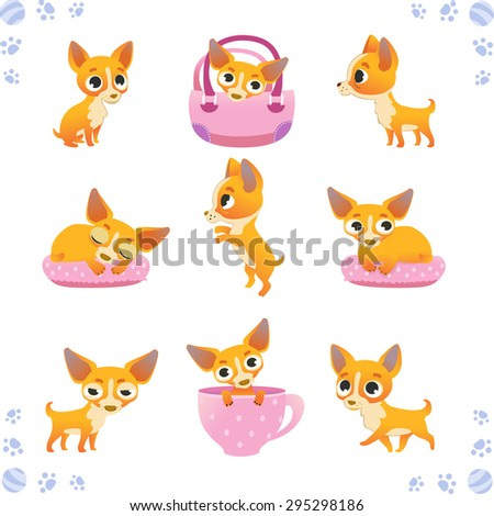 Set of cute dogs: breed of chihuahua - stock vector