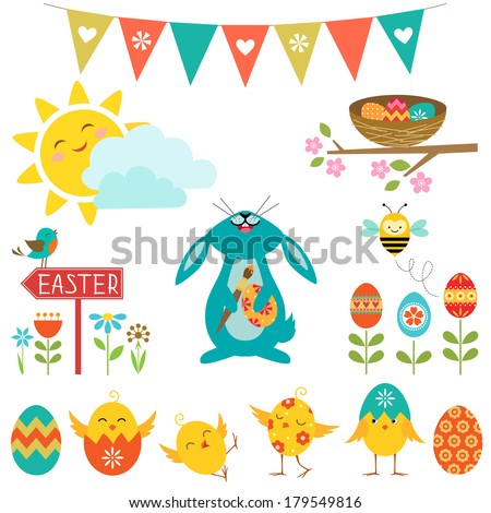 Set of cute elements for Easter design. - stock vector