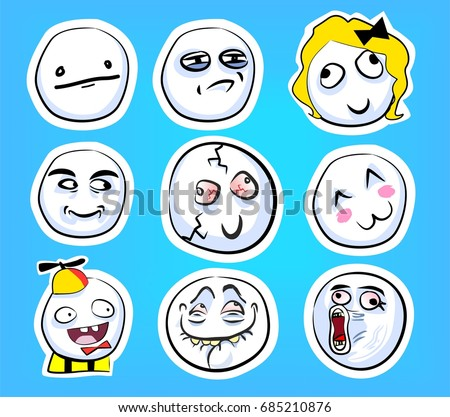 stock vector set of cute emotional stickers with internet memes for everyday expressions in social media chat 685210876 meme stock images, royalty free images & vectors shutterstock