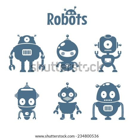 Set of cute flat robots - stock vector