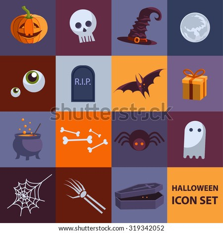 Set of cute flat vector Halloween  icons for your design. Vector illustration. EPS 10 - stock vector
