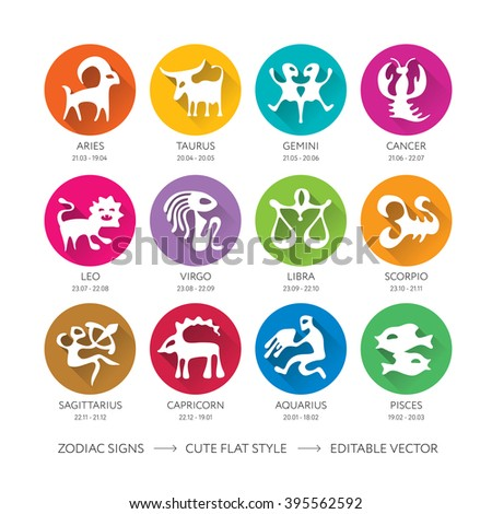 Set of cute flat zodiac signs (horoscope symbols set, astrological), editable illustration. Can be used for web, print design, t-shirt, card, banner, poster, label, icons, bookmarks, other elements. - stock vector