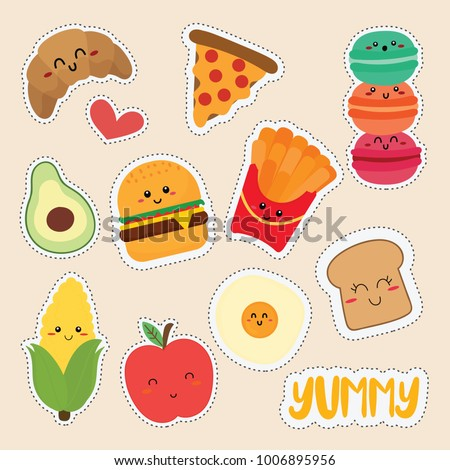 set of cute food stickers